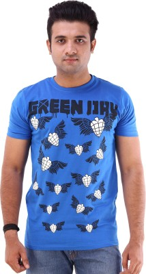 Goyal Arts Printed Men's Round Neck Blue T-Shirt