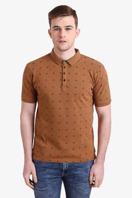 Alvin Kelly Printed Men's Polo Neck Brown T-Shirt