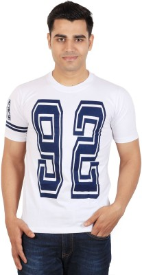 Tymstyle Printed Men,s Round Neck White, Blue T-Shirt