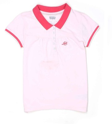 Levis Kids Solid Girl's Polo Neck Pink T-Shirt