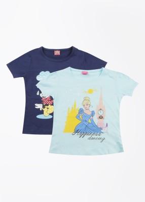 Cherish Printed Girl,s Round Neck Blue T-Shirt