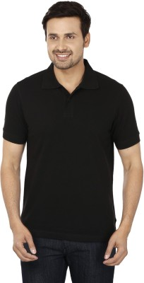 Basileo Solid Men's Polo Neck Black T-Shirt