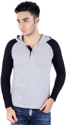 Bigidea Solid Men's Hooded Grey, Black T-Shirt