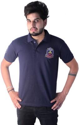 Martech Solid Men's Polo Neck Blue T-Shirt