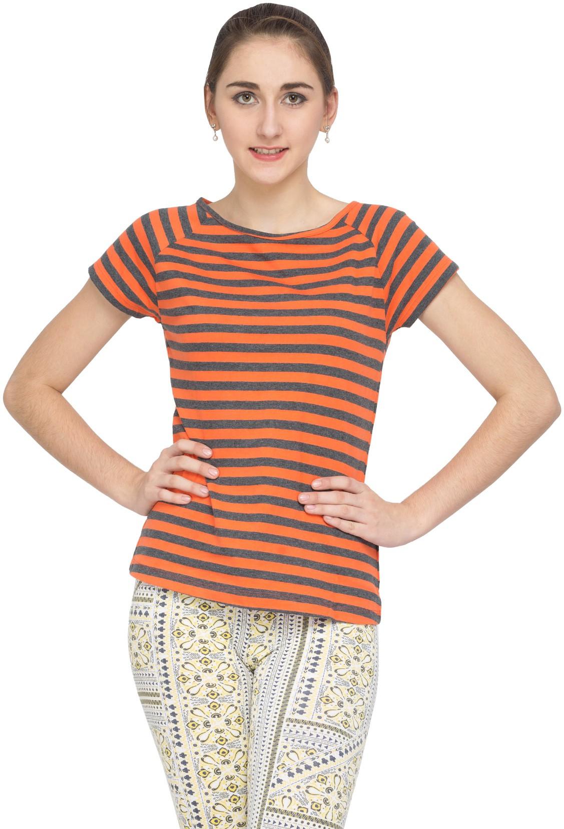 Alibi Striped Womens Round Neck T-Shirt