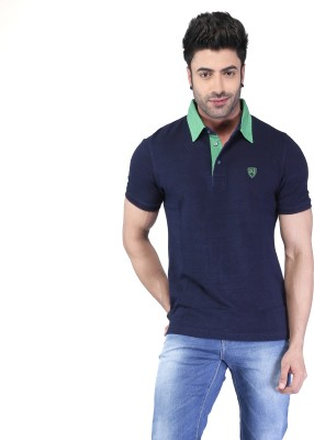 Nostrum Jeans Solid Men's Polo Neck Dark Blue, Green T-Shirt