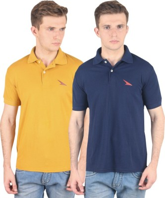 PRO Lapes Solid Men's Polo Neck Yellow, Dark Blue T-Shirt