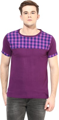 Benoit Checkered Men's Round Neck Purple T-Shirt