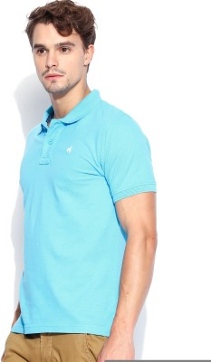 Wrangler Solid Men's Polo Neck Light Blue T-Shirt