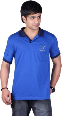 ALF Solid, Striped Men's Polo Neck Blue T-Shirt