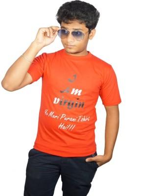 Desi Connection Self Design Men's Round Neck Red T-Shirt