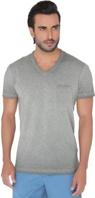Jadeblue Solid Men's V-neck Grey T-Shirt