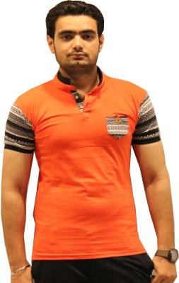 GOPAL EMPORIUM Solid Men's Mandarin Collar Orange T-Shirt