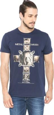 Status Quo Printed Men's Round Neck Dark Blue T-Shirt