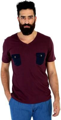 Mr Button Solid Men's V-neck Purple T-Shirt