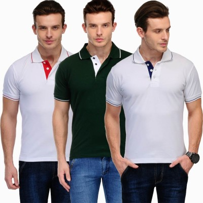 Scott International Solid Men's Polo White, Green T-Shirt
