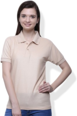 GOINDIASTORE Solid Women's Polo Beige T-Shirt