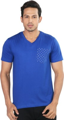 Provogue Solid Men's V-neck Dark Blue T-Shirt