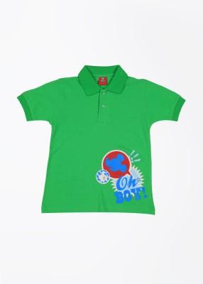 CHERISHKNITS Printed Boy's Polo Green T-Shirts