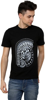 Rang Rage Animal Print Men's Round Neck Black T-Shirt