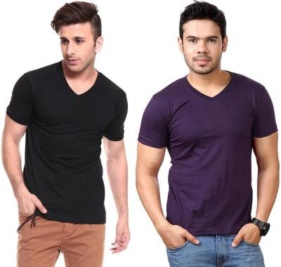 Lowcha Solid Men's V-neck Black, Purple T-Shirt