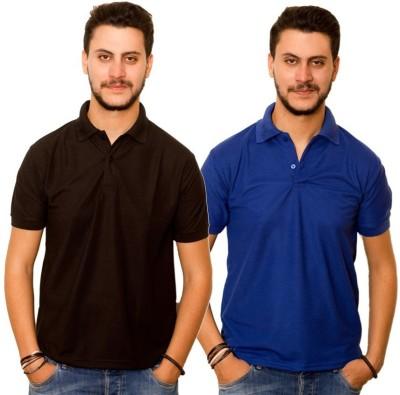 Dreamz Clothing Co Solid Men,s Polo Neck Black, Blue T-Shirt