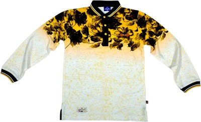 Hey Baby Printed Boy's Polo Neck White, Black T-Shirt