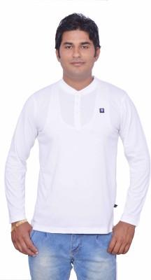 Leaf Solid Men's Henley White T-Shirt