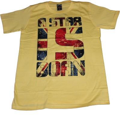 CLICKPURCH Printed Men's Round Neck Yellow T-Shirt