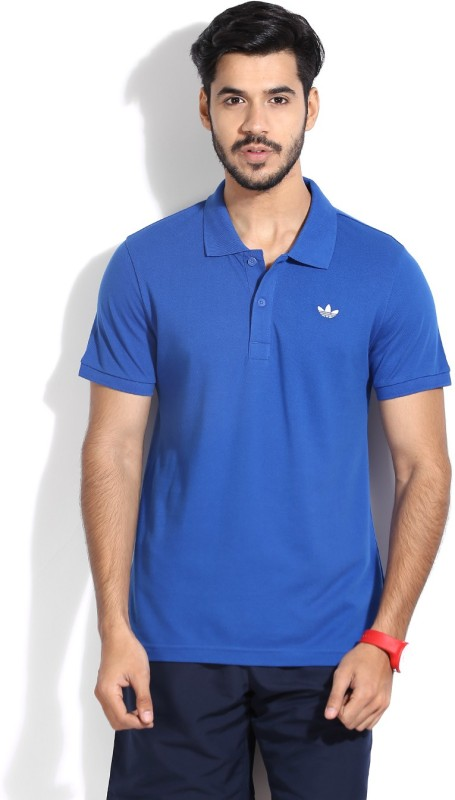 Adidas Solid Men's Polo Neck Blue T-shirt