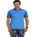 TT Solid Men's Round Neck Blue T-Shirt