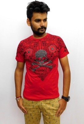 Indiano Printed Men,s Round Neck Red T-Shirt