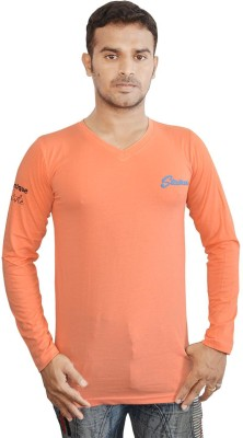 Al-Harsha Trend Solid Men's V-neck Orange T-Shirt