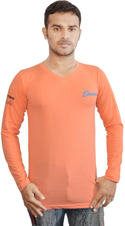 Al-Harsha Trend Solid Mens V-neck Orange T-Shirt