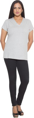 Finesse Solid Women's V-neck Grey T-Shirt