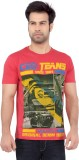 Cod Jeans Solid Men's Round Neck Red T-S...