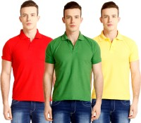 Nimya Solid Men's Polo Neck Green, Red, Yellow T-Shirt(Pack of 3)