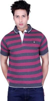 Dezyn Striped Men's Polo Neck Purple, Grey T-Shirt