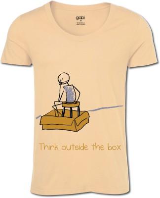 Gabi Printed Men's Round Neck Brown T-Shirt