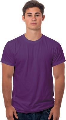 99Tshirts Solid Men's Round Neck Purple T-Shirt