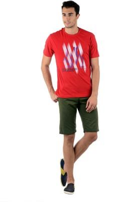 Keywest Graphic Print Men's Round Neck Red T-Shirt