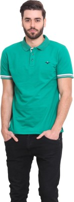 Western Vivid Solid Men's Polo Neck Green T-Shirt