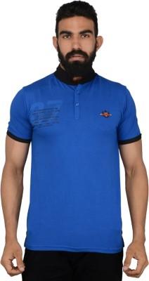 Gotit Solid Men's Flap Collar Neck Blue T-Shirt