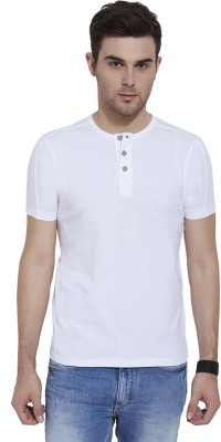 Urban Nomad By INMARK Solid Men's Henley White T-Shirt