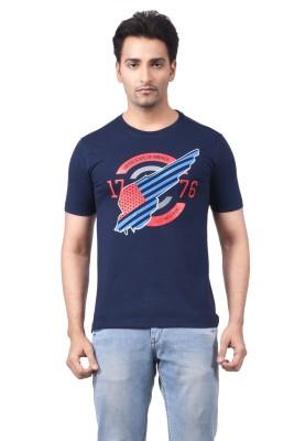 Regnum Printed Men's Round Neck Dark Blue T-Shirt