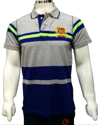 London Eye Striped Men,s Polo Grey, Dark Blue T-Shirt