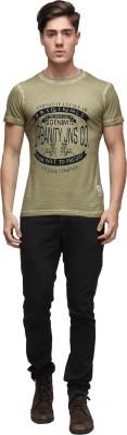 UJC Graphic Print Men's Round Neck Green T-Shirt