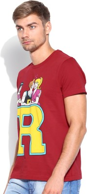 Kook N Keech Archie Printed Men's Round Neck Red T-Shirt