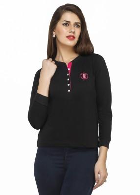 Run of luck Solid Women's Henley Black T-Shirt