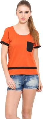 Sugar Her Solid Women's Round Neck Orange T-Shirt